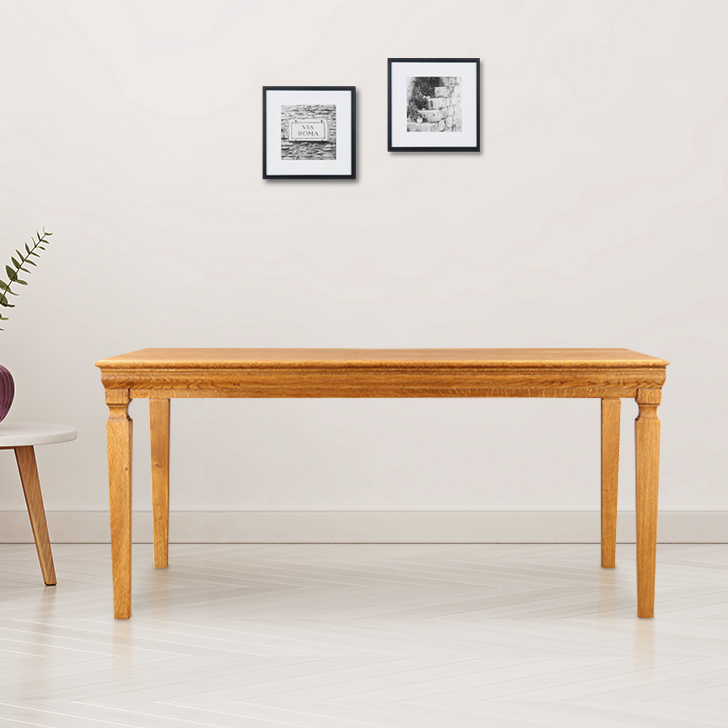 Denver Solid Wood Six Seater Dining Table in Brown Oak Colour by HomeTown