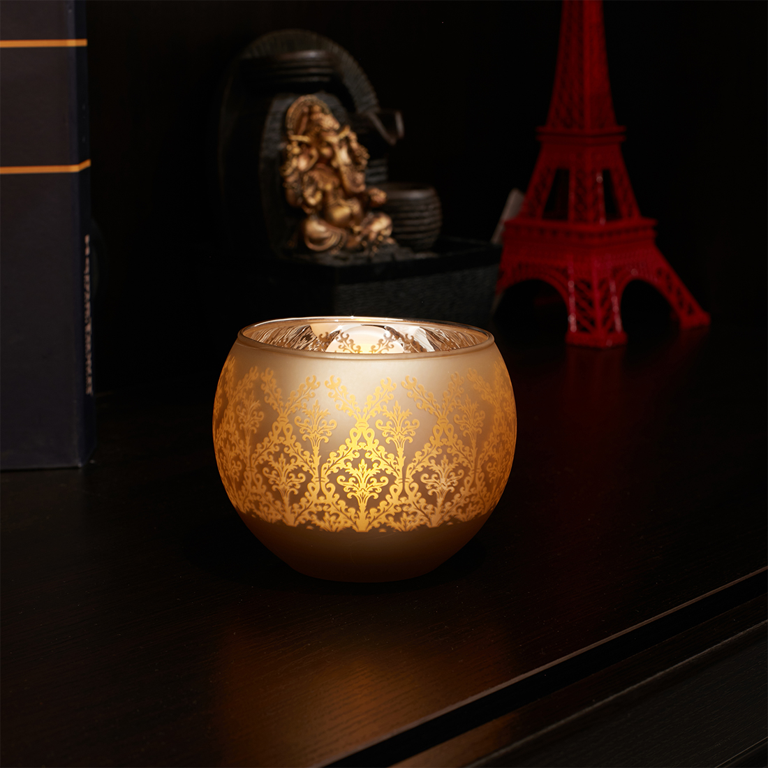 Zahara Glass Candle Holders in GOLD Colour by Living Essence