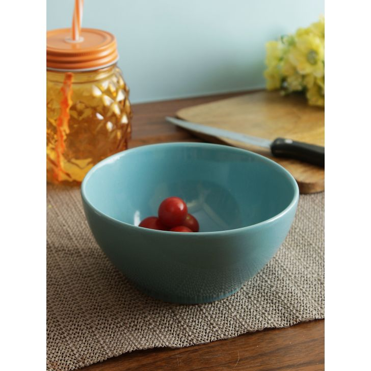 Ceramic Bowls in Teal Colour by Living Essence