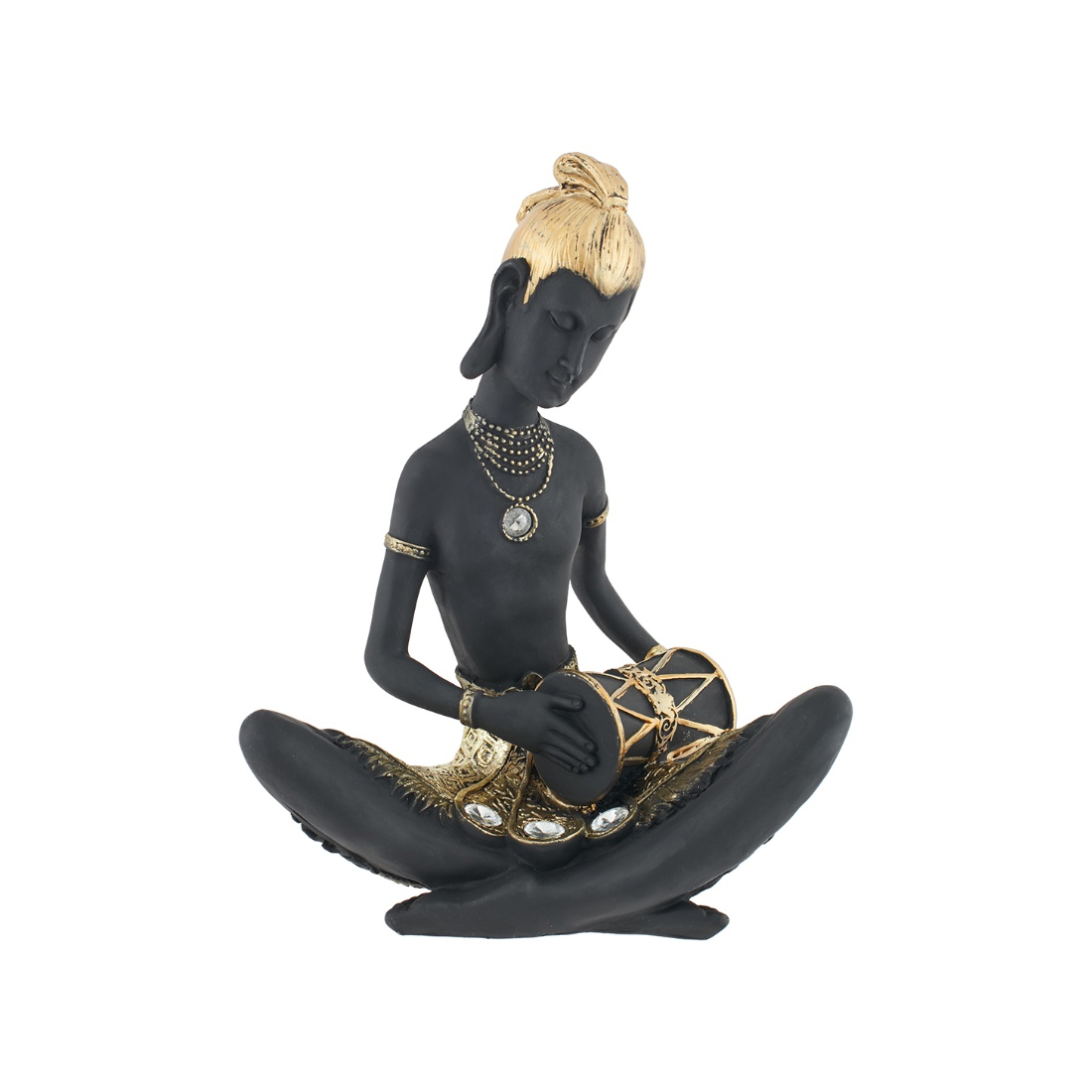 Fio Sitting Music Figurine Black Polyresin Figurines in Black Colour by Living Essence