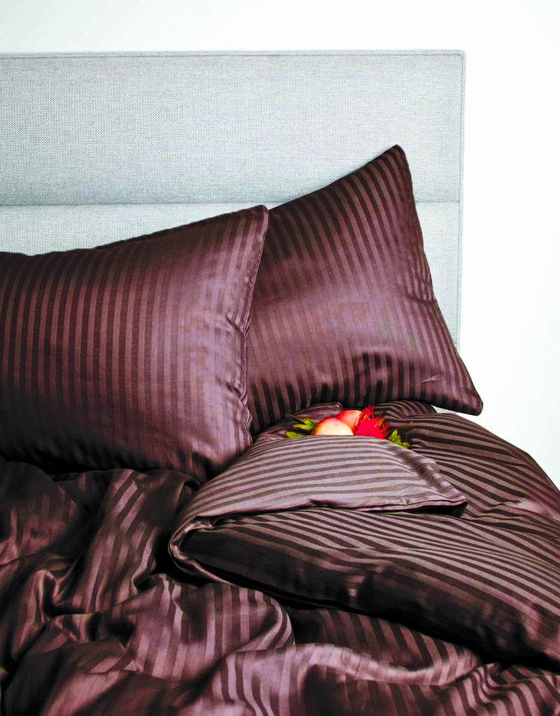 Amara Cotton Double Bed Sheets in Brown Colour by Living Essence