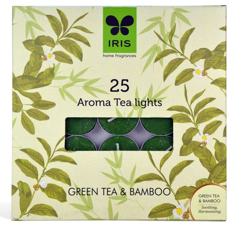 IRIS Fragrance Tealight Pack Of 25 Green Tea And Bamboo