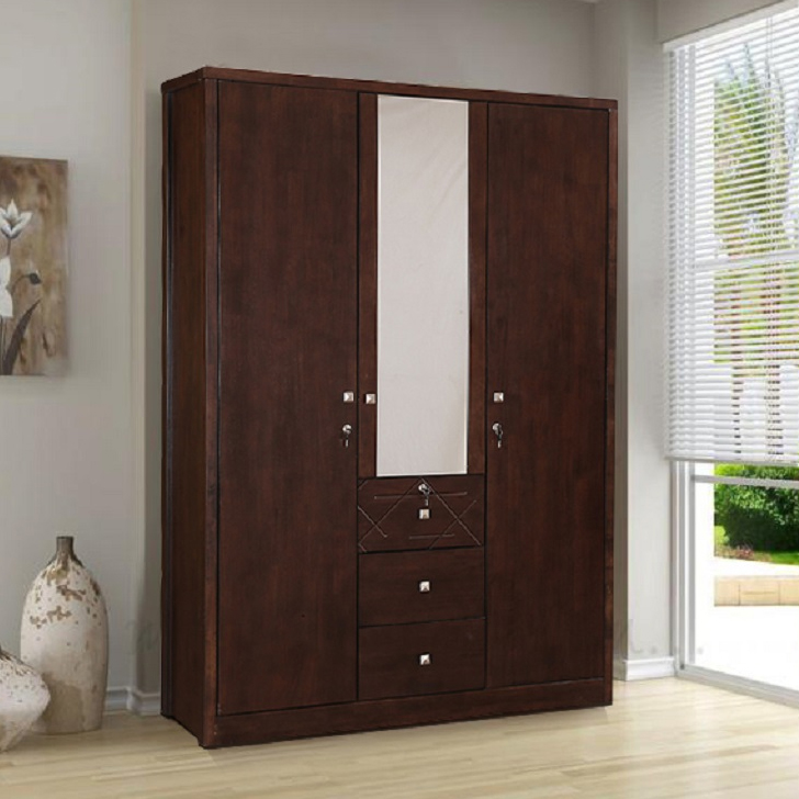 Starlight Solid Wood Three Door Wardrobe in Walnut Colour by HomeTown