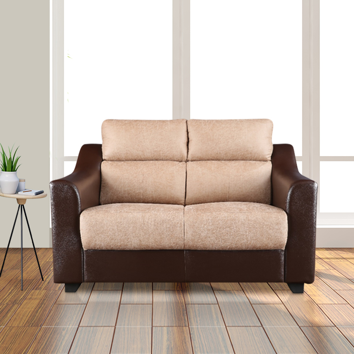 Alfred Fabric & Leatherette Two Seater Sofa in Brown Colour by HomeTown