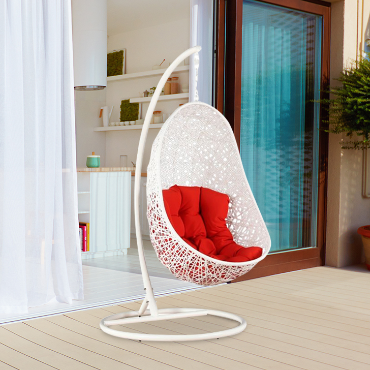 Begonia Mild Steel Outdoor Swing in White & Red Colour by HomeTown
