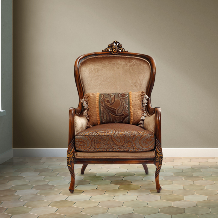 Monarch Fabric Single Seater Sofa in Brown Colour by HomeTown