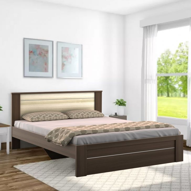 Omega Engineered Wood Queen Size Bed in Brown & White Colour by HomeTown