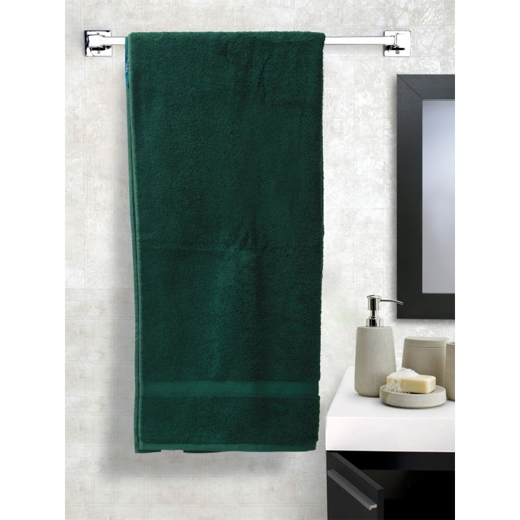 Solid PC Poly Blend Bath Towels in Green Colour by Dreamline