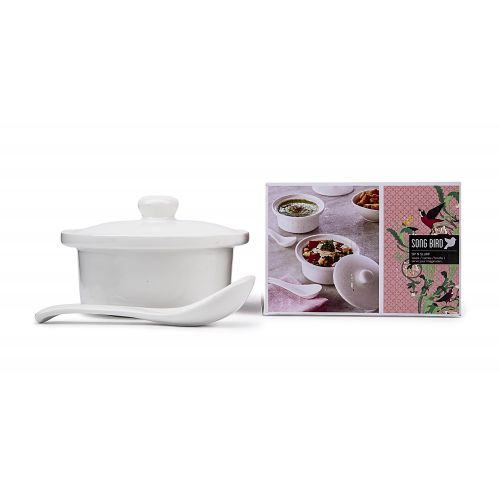 Buy Zuppa Bowl Set Ceramic Serving Bowls In White Colour By Songbird