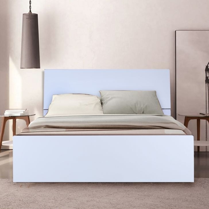 Edwardo Engineered Wood Queen Size Bed in High Gloss White Colour