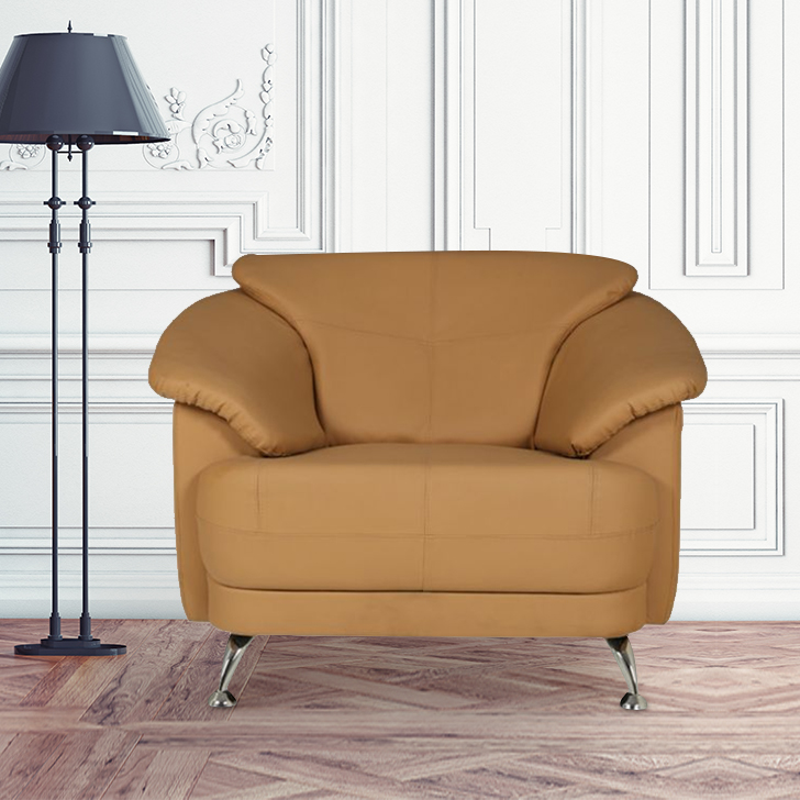 Corinth Leather Single Seater sofa in Camel Colour by HomeTown