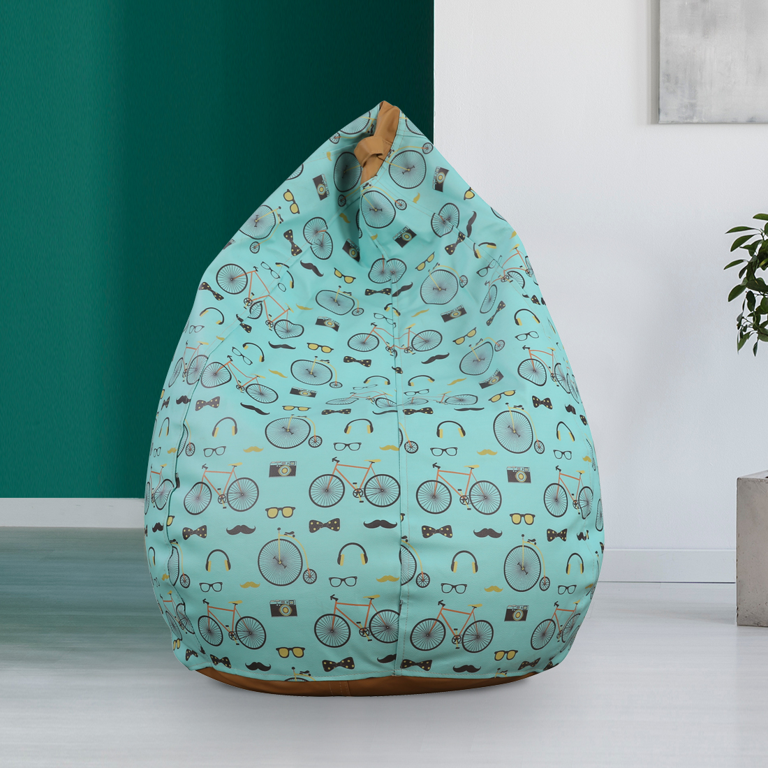 Living Essence Leatherette XXL Bean Bag With Beans in Multicolour Colour by HomeTown