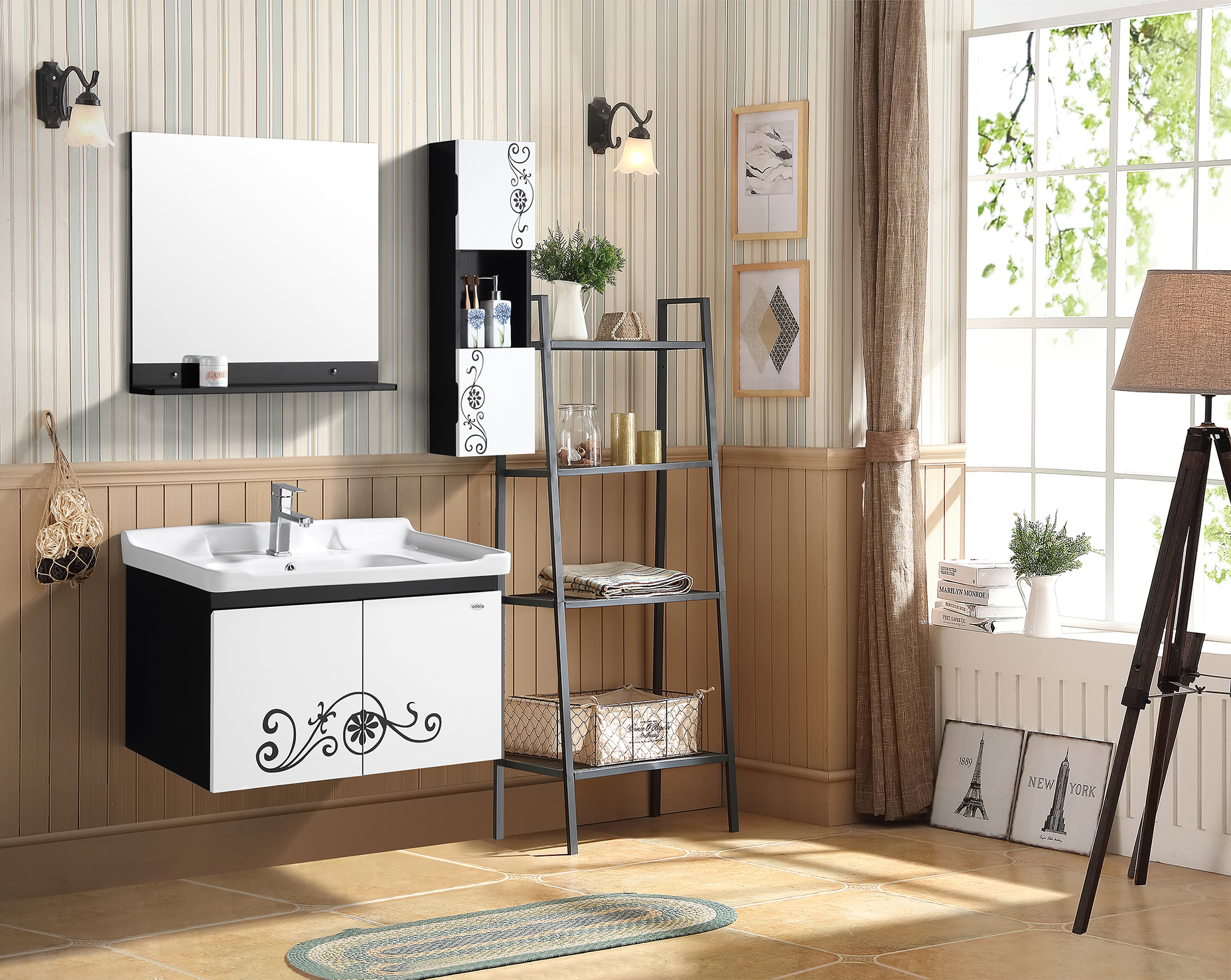 Thrift Bath Vanity in Black & White Colour by HomeTown