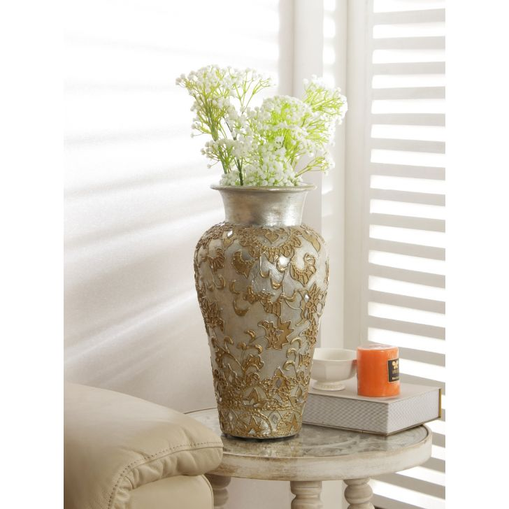 Azzure Polyresin Vase in Gold Colour by HomeTown