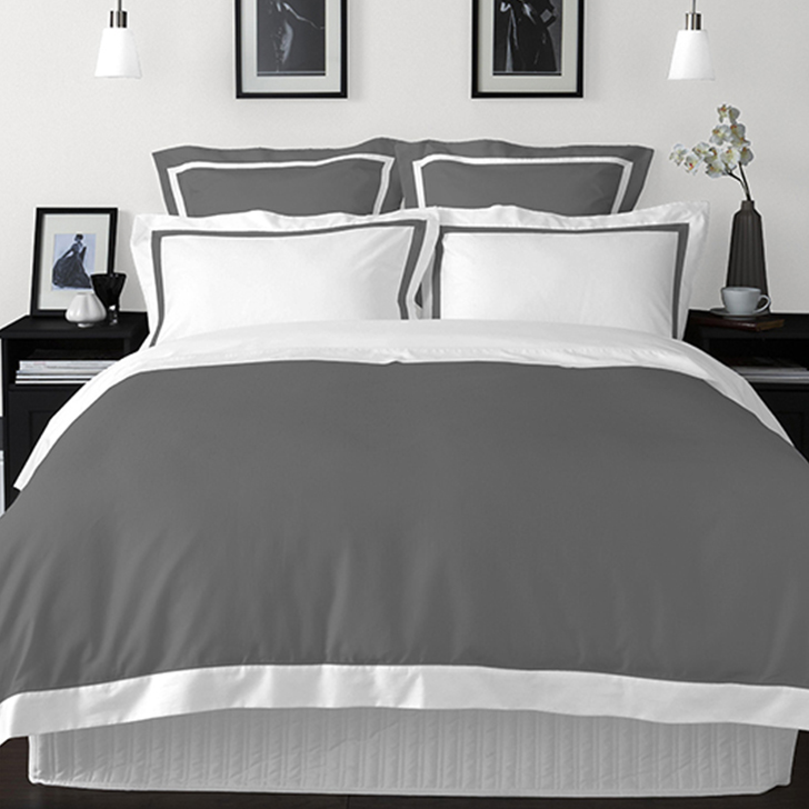 Spaces Cotton Double Bed Sheets in Grey Colour by Spaces