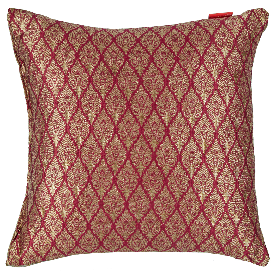 Filled Cushion Miraya Pink Beige Brocade Cushion Fillers in Brocade Colour by Living Essence