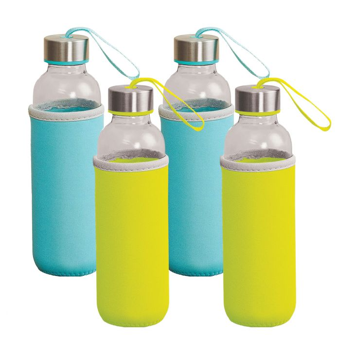 Fiesta Glass On The Go Glass Bottles With Sleeves 500 Ml Set Of 4 in Green & Blue Colour