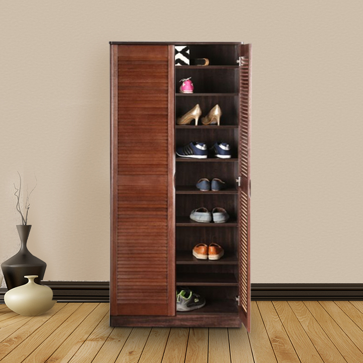Pamela Engineered Wood Shoe Rack in Oak Colour by HomeTown