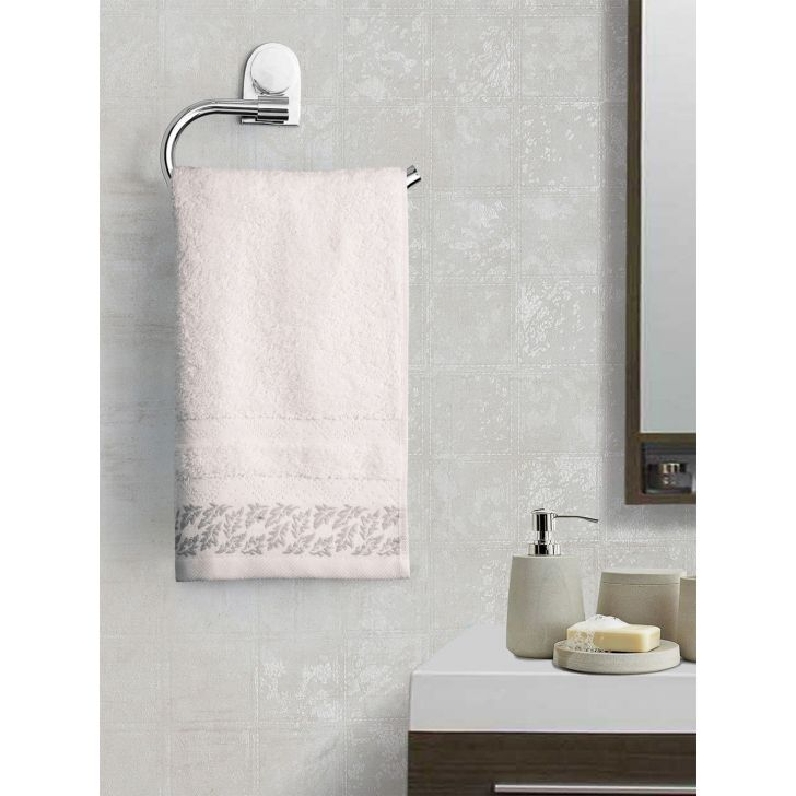 Portico New York Ariana Jacquard : B Hand Towel in Off White Color by Portico