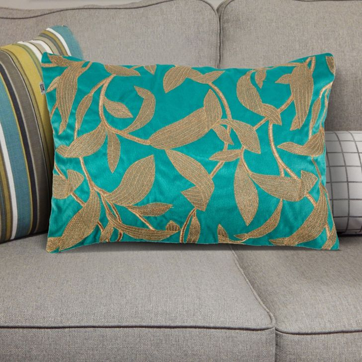 . Cushion Covers in Teal Blue Colour by Living Essence