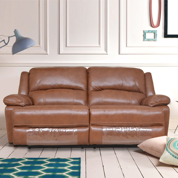 Mercedes Half Leather Three Seater Electric Recliner in Brown Colour by HomeTown