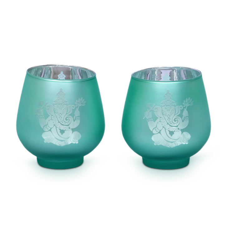 Zahara Ganesha Glass Candle Holders in Assorted (Red, Yellow And Teal) Colour by HomeTown