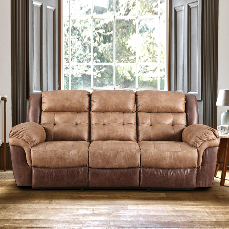 Eclairs Fabric Three Seater Recliner in Brown Colour by HomeTown