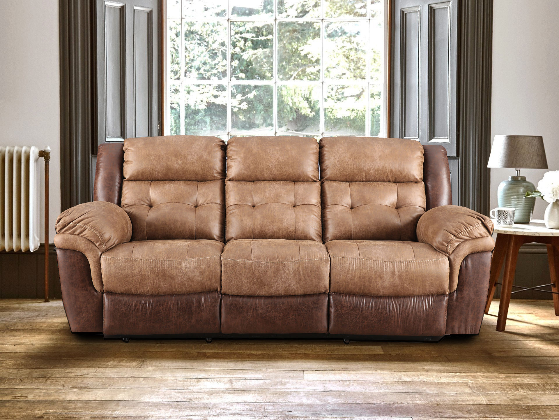 Eclairs Leather Three Seater Recliner in Brown Colour by HomeTown