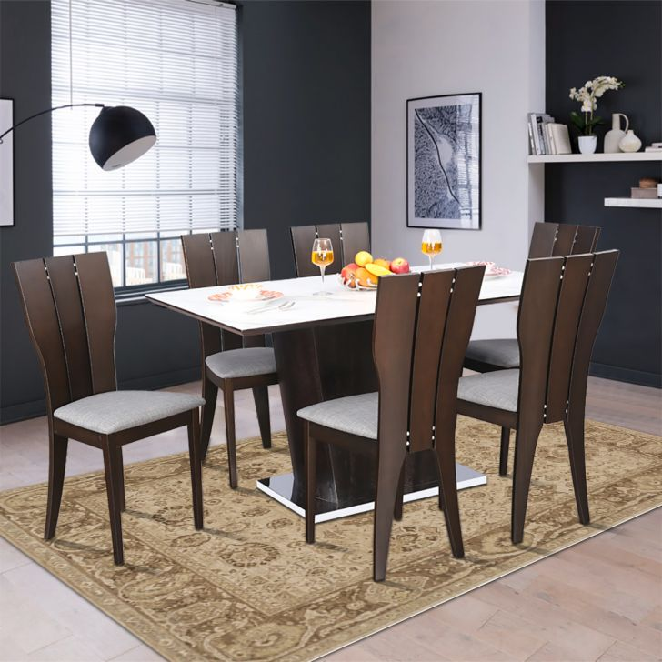 Sanchez Solid Wood Marble Six Seater Dining Set in White & Walnut Colour by HomeTown