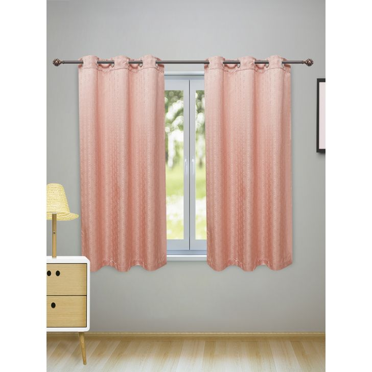 Fiesta Set of 2 Polyester Window Curtains in Blush Colour by Living Essence