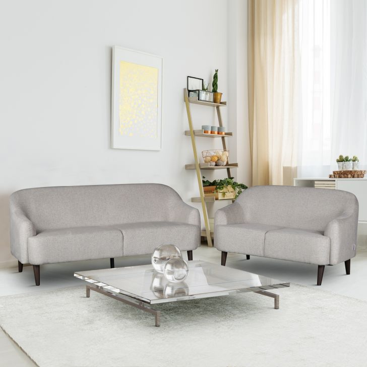 Brooke Fabric Three Seater + Two Seater Sofa Set in Beige Colour
