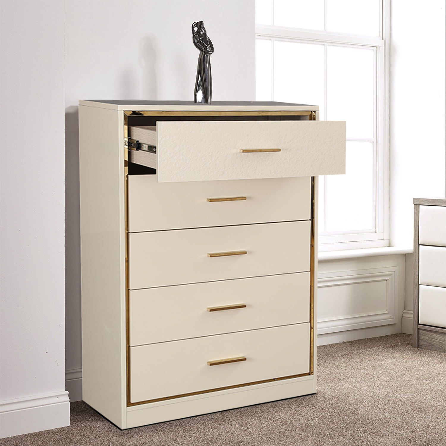 Stellar Engineered Wood Chest of Darwer in High Gloss White Colour by HomeTown
