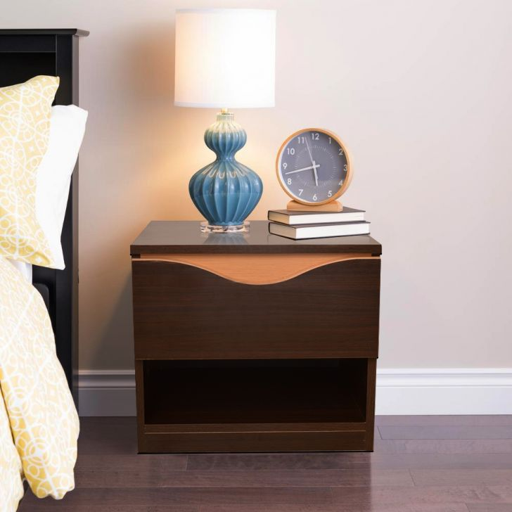 Swirl Engineered Wood Bedside Table in Denver Oak , Urban Teak Colour by HomeTown