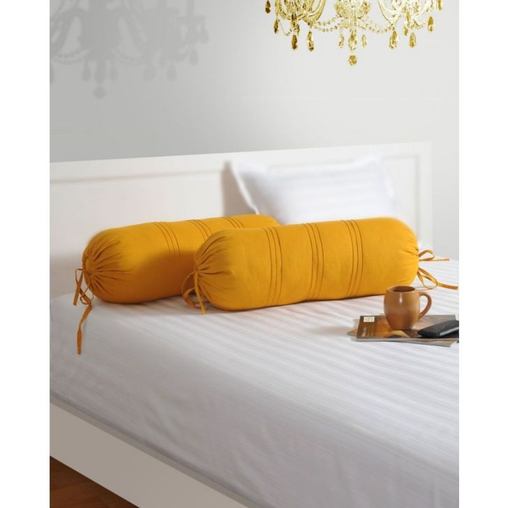 Solid Bolster Cover In Yellow Color By Swayam