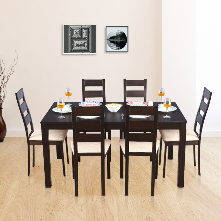 Walton Solid Wood Six Seater Dining Set in Dark Walnut Colour by HomeTown