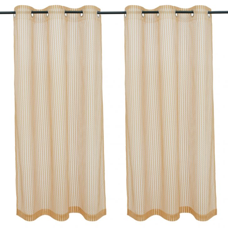 Amour  Set Of 2 Sheer Window Curtain 120X160 CM in Mustard Colour by Living Essence