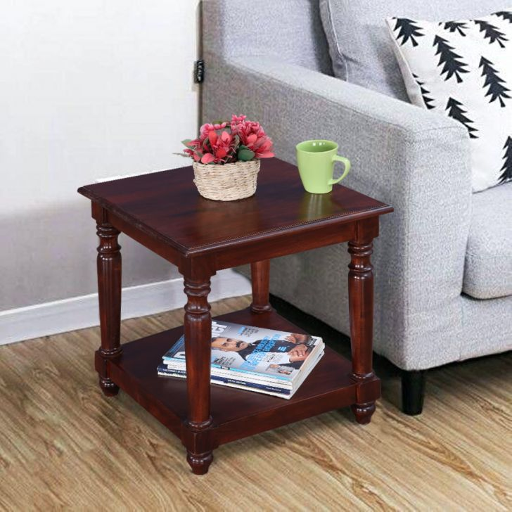 Octavia Solid Wood Side Table in Walnut Colour by HomeTown