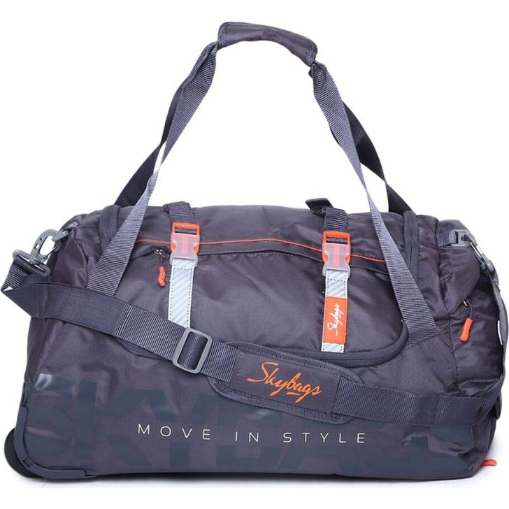Snazzy 54 cm Polyester Duffle Airbag in Grey Colour by Skybags
