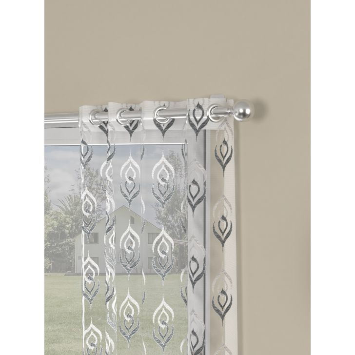 Embroidery On Organza Window Curtain In Grey Color By Rosara Home