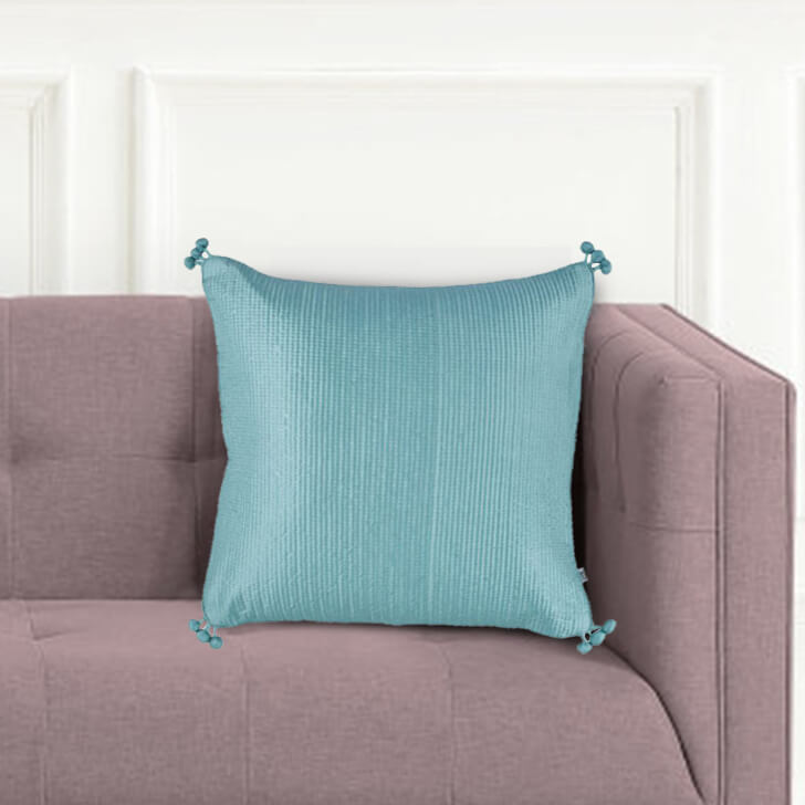 Pompom Cushion Cover Polyester Cushion Covers in Blue Silver Colour by Living Essence