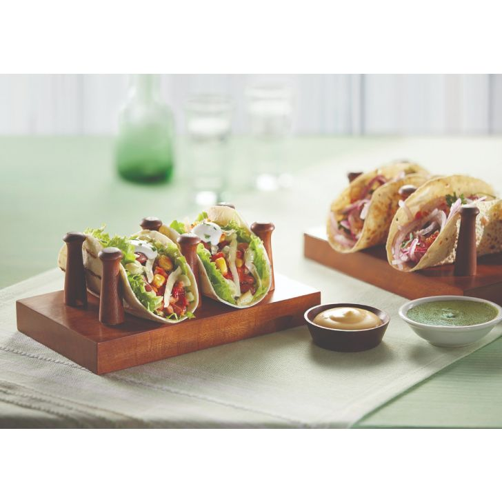 Stem Taco/Sandwich Holder Serving Sets in Natural Wood Colour by Songbird