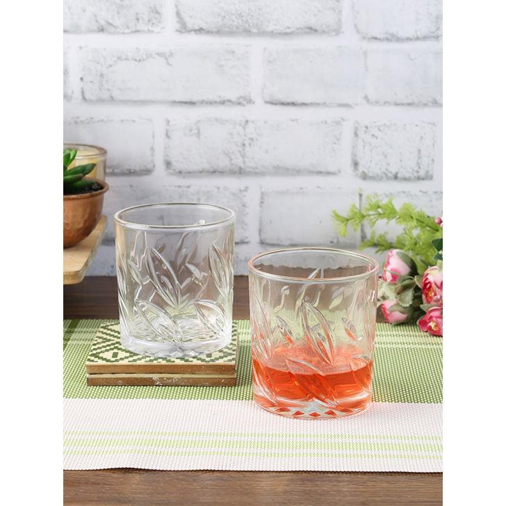 Living Essence Glass Leaf Whisky Tumblers Set Of 6 in Transparent Colour by Living Essence
