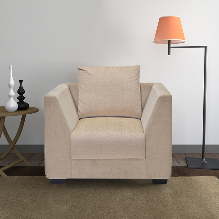 Congo Fabric Single Seater Sofa in Beige Colour by HomeTown