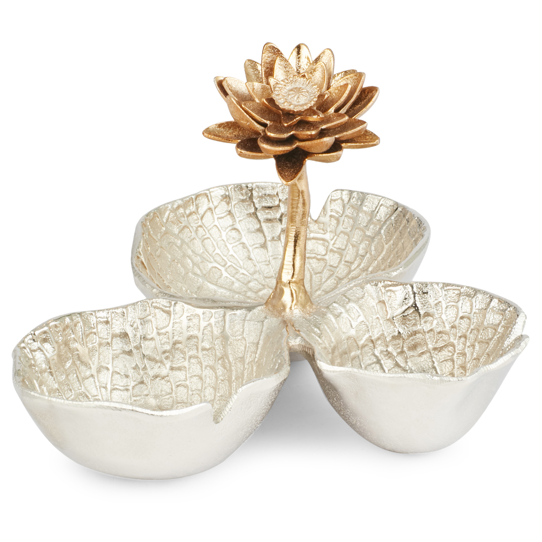 Jashn Silver Three Bowl Dish With Flower Accent Metal Table D in Silver Colour by Living Essence
