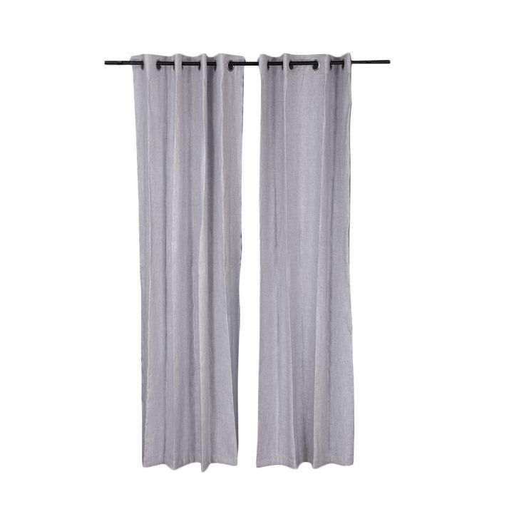 Amour Cotton Polyester Door Curtains in Grey Colour by Living Essence
