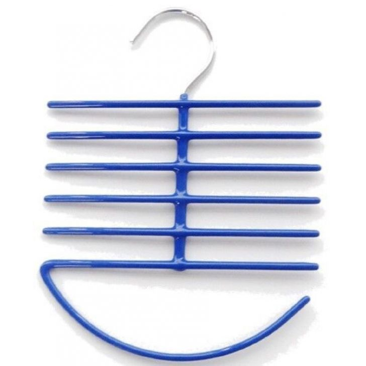 Bonita Officy-Tie & Belt Hanger Single PVC Coated Metal Hangers & Hooks in Blue Colour by Bonita