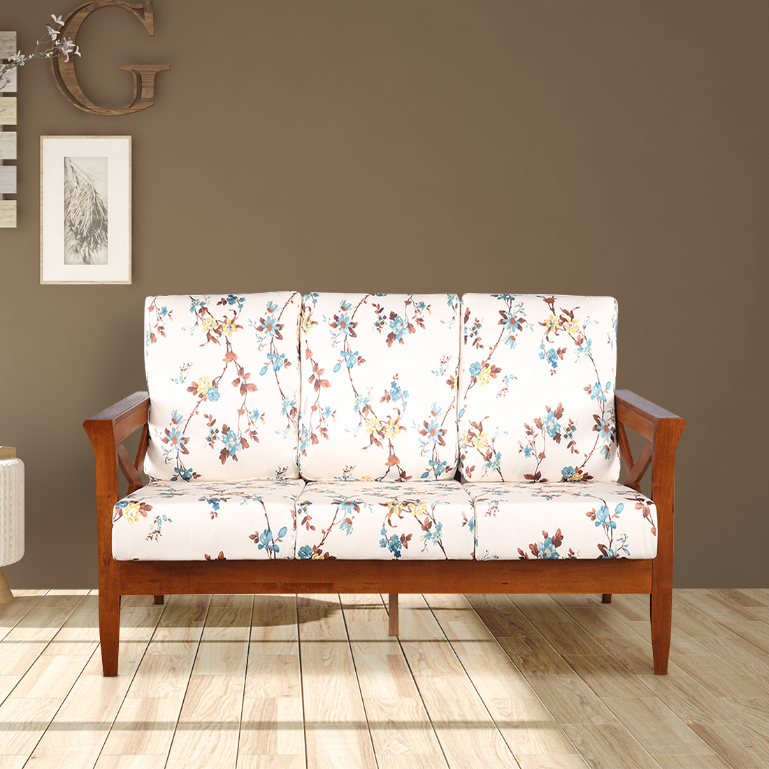 Aldrich Solid Wood Three Seater Sofa With Cushions in Floral Colour by HomeTown