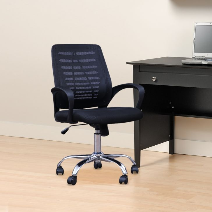 Prime Engineered Wood Office Chair in Black Colour by HomeTown