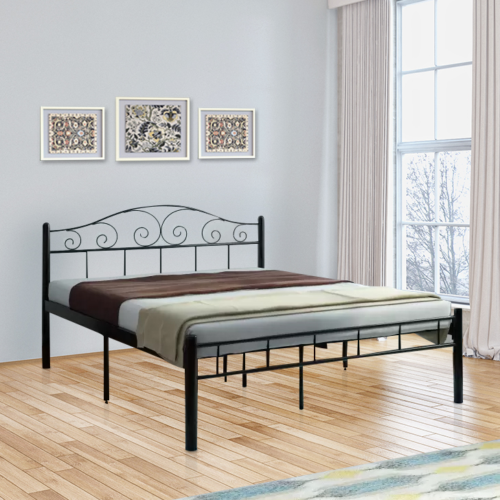 Jerrom Wrought Iron Queen Size Bed in Black Colour by HomeTown