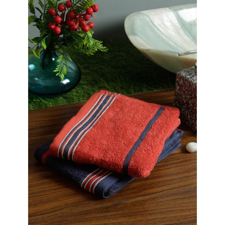 Set of 2 Emilia Cotton Hand Towels in Navy Rust Colour by Living Essence